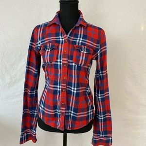 Abercrombie and Fitch Red Blue Flannel Shirt S